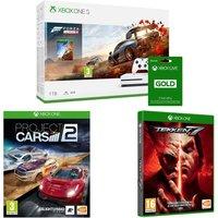 MICROSOFT Xbox One S, Forza Horizon 4, Tekken 7, Project Cars 2 & Xbox LIVE Gold Bundle, Gold