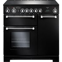 RANGEMASTER Kitchener 90 Electric Ceramic Range Cooker - Black & Chrome, Black