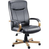 TEKNIK 85 Series 8512HLW Bonded-leather Reclining Executive Chair - Kingston Black & Oak, Black