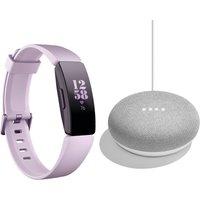 FITBIT Inspire HR Fitness Tracker & Google Home Mini Chalk Bundle - Lilac, Universal