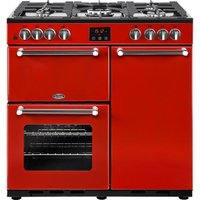 BELLING Kensington 90DFT Dual Fuel Range Cooker - Red and Chrome, Red