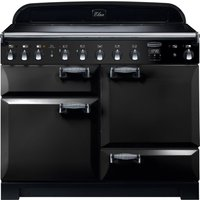 Rangemaster Elan Deluxe ELA110EIBL 110 cm Electric Induction Range Cooker - Black and Chrome, Black