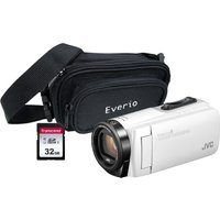JVC GZ-R495BEK Camcorder & Accessories Bundle - White, White