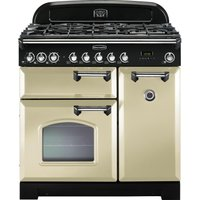 Rangemaster Classic Deluxe 90 Dual Fuel Range Cooker - Cream and Chrome, Cream