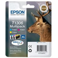EPSON  Stag T1306 Cyan, Magenta & Yellow Ink Cartridges - Multipack, Cyan
