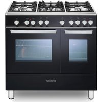 CK406 90 cm Dual Fuel Range Cooker - Black & Chrome, Black