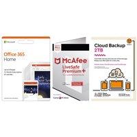 McAfee LiveSafe Premium 2020, Microsoft Office 365 Home & Knowhow 2 TB Cloud Backup Bundle