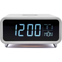 GROOV-E Athena Alarm Clock with Wireless Charger - White, White