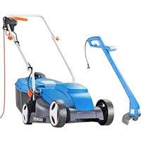 HYUNDAI Corded Rotary Lawn Mower & Grass Trimmer Bundle - Blue, Blue