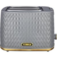 TOWER Empire Collection T20054GRY 2-Slice Toaster – Grey, Grey.