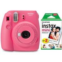 INSTAX mini 9 Instant Camera & Mini Film 20 Shot Pack Bundle - Flamingo Pink, Pink