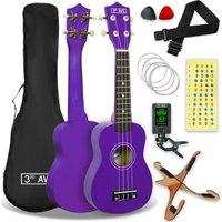 3RD AVENUE STX40PUPK Soprano Ukulele Pack - Purple, Purple
