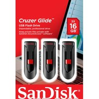 SANDISK Cruzer Glide USB 2.0 Memory Stick - 16 GB, Pack of 3
