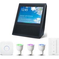 PHILIPS Hue White & Colour Ambiance GU10 Starter Kit & Amazon Echo Show Bundle, White