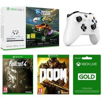 MICROSOFT Xbox One S, Games, Wireless Controller & Xbox LIVE Gold Membership Bundle, Gold