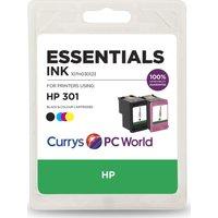 ESSENTIALS HP 301 Combo Black & Tri-colour Ink Cartridges, Black
