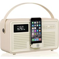 VQ Retro Mk II Portable DAB Bluetooth Clock Radio - Cream, Cream