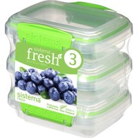 SISTEMA Fresh Rectangular 0.2 litre Containers - Green, Pack of 3, Green