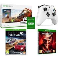 MICROSOFT Xbox One S, Forza Horizon 4, Tekken 7, Project Cars 2, Xbox LIVE Gold & Wireless Controller Bundle, Gold