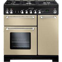RANGEMASTER Kitchener 90 Dual Fuel Range Cooker - Cream & Chrome, Cream