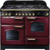 Rangemaster Classic Deluxe 110 Dual Fuel Range Cooker - Cranberry and Brass, Cranberry