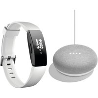 FITBIT Inspire HR Fitness Tracker & Home Mini Bundle - Chalk, White