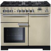 RANGEMASTER Professional Deluxe 100 Dual Fuel Range Cooker - Cream and Chrome, Cream