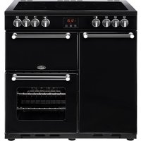 BELLING Kensington 90E Electric Ceramic Range Cooker - Black and Chrome, Black