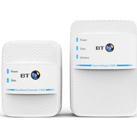 BT Home Hotspot 1000 Wireless Powerline Adapter Kit - Twin Pack
