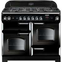 Rangemaster Classic CLA110DFFBL/C 110 cm Dual Fuel Range Cooker - Black and Chrome, Black