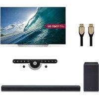 55 Lg Oled55c7v Smart 4k Ultra Hd Oled Tv, Wireless Soundbar With Dolby Atmos, Fixed Tv Bracket & Hdmi Cable Bundle, Black