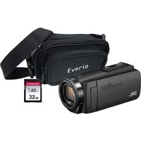 JVC GZ-R495BEK Camcorder & Accessories Bundle - Black, Black