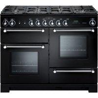 RANGEMASTER Kitchener 110 cm Dual Fuel Range Cooker - Black and Chrome, Black