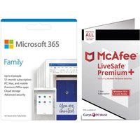 MICROSOFT 365 Family for 6 Users & McAfee LiveSafe Premium 2020 for Unlimited Users Bundle - 1 year