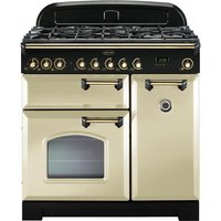 Click to view product details and reviews for Rangemaster Classic Deluxe 90 Dual Fuel Range Cooker Cream Brass Cream.