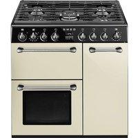 SMEG Blenheim 90 cm Dual Fuel Range Cooker - Cream and Black, Cream