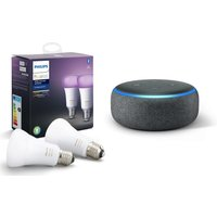 Philips Hue White & Colour Ambiance E27 Bulb Twin Pack & Echo Dot (2018) - Charcoal, White