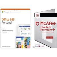 McAfee LiveSafe Premium 2020 & Microsoft Office 365 Personal Bundle