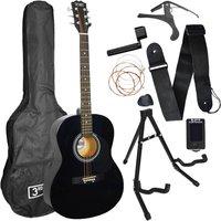 3RD AVENUE STX10 Acoustic Guitar Premium Bundle - Black, Black