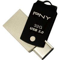 PNY Duo-Link USB 3.0 and USB Type-C Memory Stick - 32 GB, Black, Black