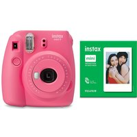 INSTAX mini 9 Instant Camera & 50 Shot Pack Bundle - Flamingo Pink, Pink