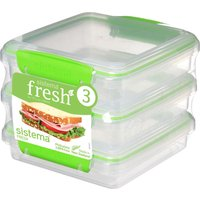 SISTEMA Fresh Square 0.45 litre Sandwich Boxes - Green, Pack of 3, Green