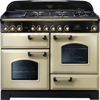 RANGEMASTER Classic Deluxe 110 Dual Fuel Range Cooker - Cream & Brass, Cream