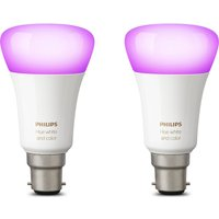 Philips Hue White and Colour Ambiance Wireless Bulb - B22, Twin Pack, White