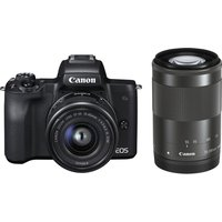 CANON EOS M50 Mirrorless Camera with EF-M 15-45 mm f/3.5-6.3 IS STM & 55-200 mm f/4.5-6.3 IS STM Lens at Currys Electrical Store