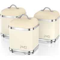 Swan Fearne By Swan Swka1025hon Square 1.5 Litre Storage Canisters - Pale Honey, Set Of 3