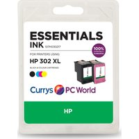 ESSENTIALS HP 302XL Black & Tri-colour Ink Cartridges, Black