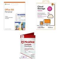 Microsoft Office 365 Personal, Livesafe Premium 2019 & Cloud Storage Bundle