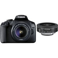CANON EOS 2000D DSLR Camera with EF-S 18-55 mm f/3.5-5.6 III & EF-S 24 mm f/2.8 STM Lens Bundle