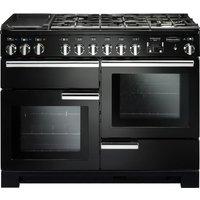Rangemaster Professional Deluxe PDL110DFFGB/C 110 cm Dual Fuel Range Cooker - Black and Chrome, Black